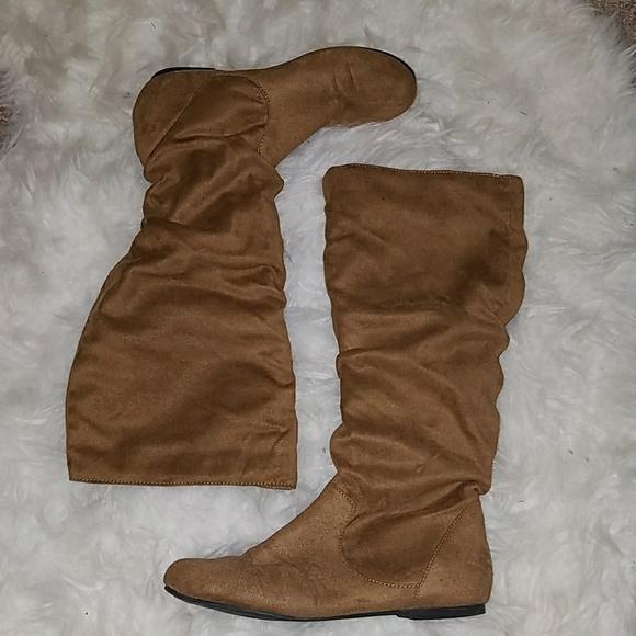 74 shoes camel flat mid calf faux suede scrunch