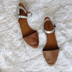 Lucky Brand Shoes - LUCKY BRAND brown+silver ankle strap flats
