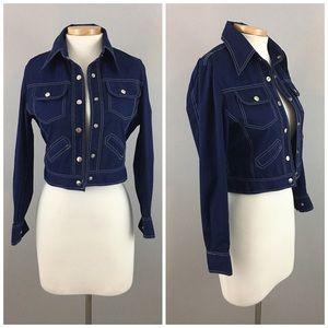 Vintage Denim Blue White Stitch Button Up Jacket