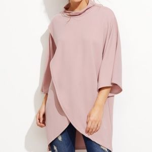 Tops - Pink high neck wrap blouse