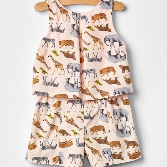 75b0753f745 GAP Other - Baby GAP Safari Animals Two-Piece Romper