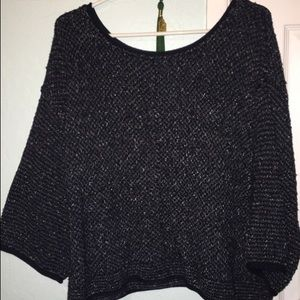 Free People bell sleeve navy knit sweater Size M