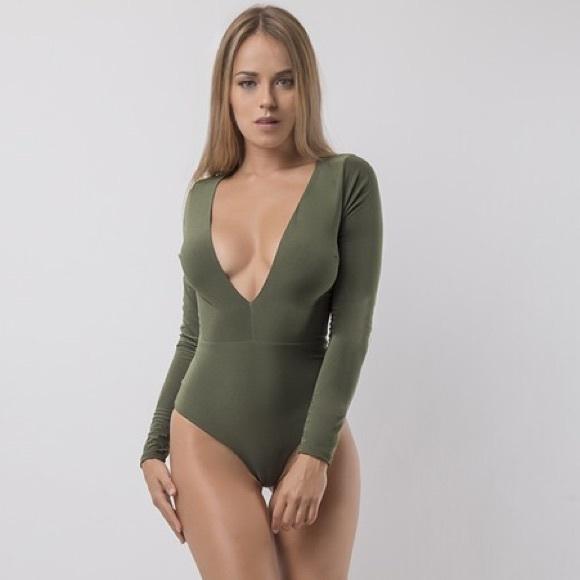 0cdd031d55 Lux LA Tops | Olive Deep V Long Sleeve Bodysuit | Poshmark
