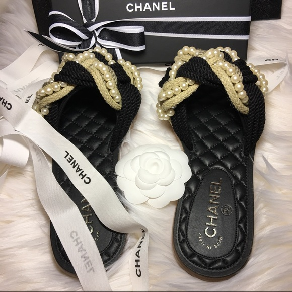 982fb4600da38d CHANEL Shoes   Sold Sandals In Braided Cord With Pearls   Poshmark