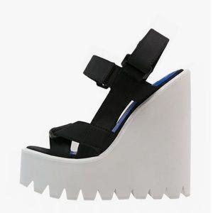 Jeffrey Campbell LORIEL Black/White wedge sandals