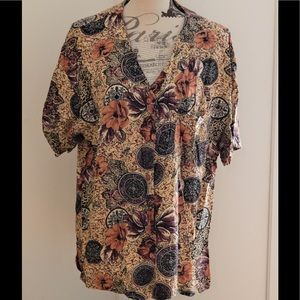 Lauren Brooke Floral Boho Button Up Blouse