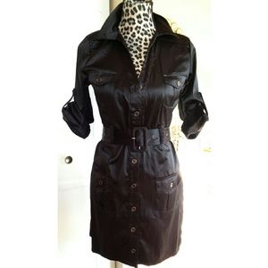 Rhapsody  Dresses & Skirts - New Black Satin Fitted Belted Trench Dress