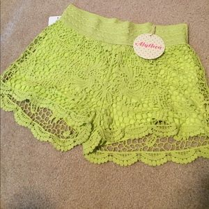 Free People Shorts - Lime  crochet shorts