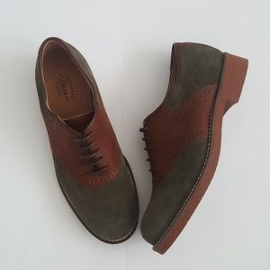 Bass Shoes - Bass Emmie Olive Green & Brown Saddle Shoe NWOT