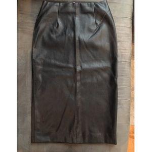 Zara Leather Midi Skirt