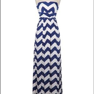 Blue and White Chevron maxi dress
