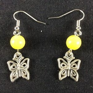 New Yellow and Silver Butterfly Earring