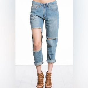 Faded Blue Denim Distressed Hole