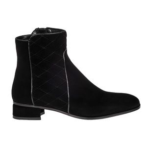 Aquatalia Black Quilted Suede Ankle Booties