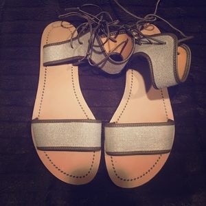 J.Crew  silver and olive green sandals