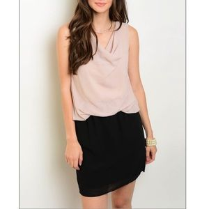 Dresses & Skirts - Taupe & black dress, so PRETTY! NWT