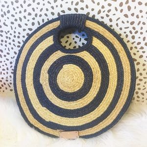 Kate Spade Raffia Striped Circle Tote Beach Bag