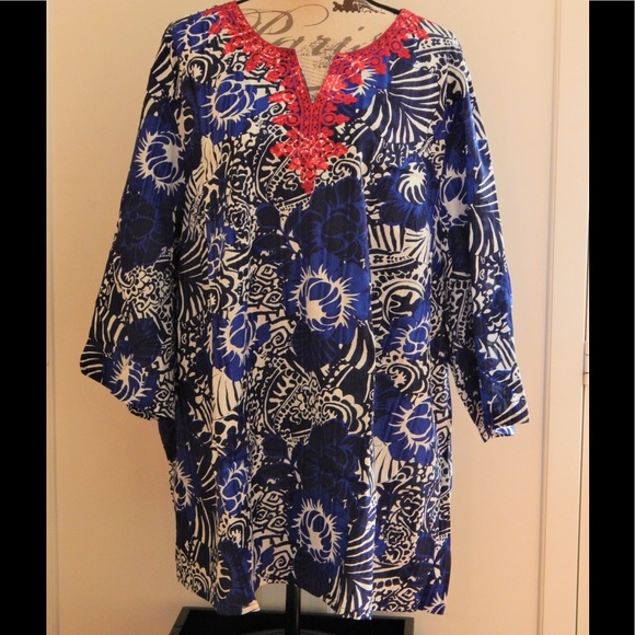 Liz & Me Tops - Chic Blue Island Print Embroidered Beach Top