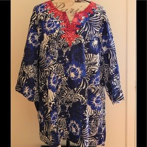 Chic Blue Island Print Embroidered Beach Top