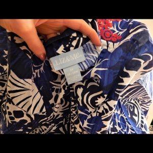 Liz & Me Tops - Chic Blue Island Print Embroidered Beach Top
