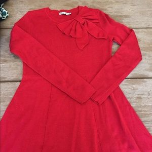 Eliza J Dresses & Skirts - Red sweater dress with a cute bow - size medium.