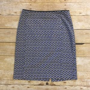 H&M Blue Print Pencil Skirt