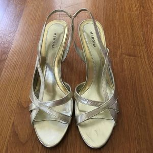 Merona Shoes - Gold Sling Back Heels