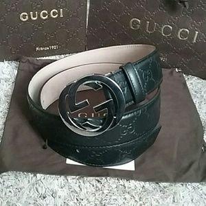 Gucci Other - 🌟NWT Gucci Belt Black Guccissima w/ Silver Buckle