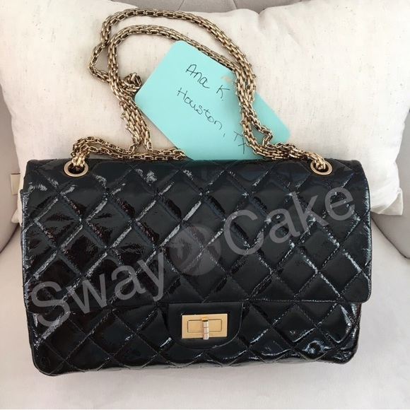 57% off CHANEL Handbags - SALE CHANEL Black Patent Reissue 2.55 ...