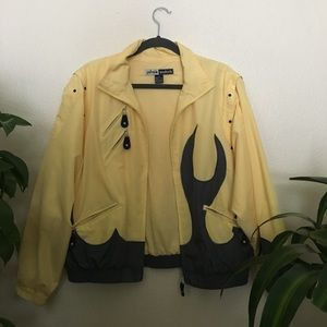 Vintage yellow flame design bomber jacket 