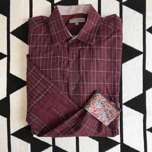 Ted Baker Other - Ted Baker Size 2 Plaid Floral Casual Button Down