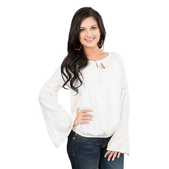 Rock & Roll Cowgirl Tops - NWT White sheer long sleeve peasant boho blouse