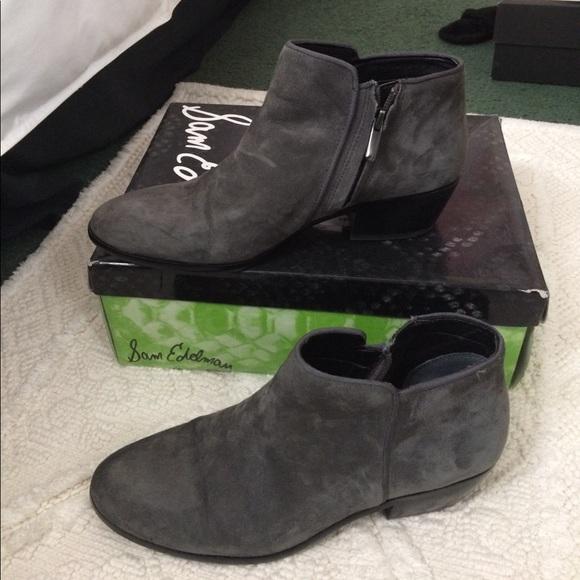 131b7b501fb77 Sam Edelman petty slate gray suede ankle booties. M 593c46f5b4188eadcf00fbca