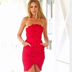 Dresses & Skirts - Lace Overlay Strapless Dress