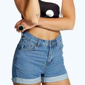 Boohoo Pants - Denim Jean Mom Shorts