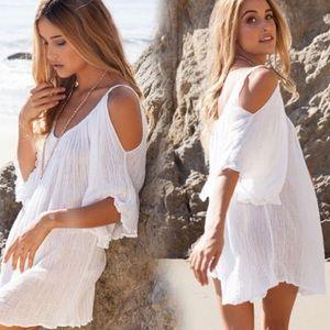 Dresses & Skirts - ⚜Sheer White Open-Shoulder Swim Pullover⚜