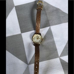 Timex gold ladies watch leather band