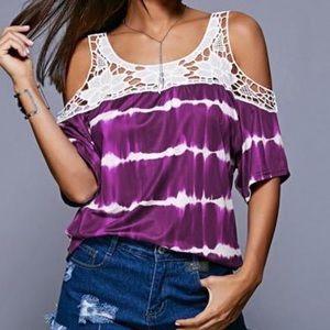 Tops - Purple tie dye & lace cold shoulder top