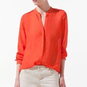 Zara Coral Shoulder Patch Button Down Blouse