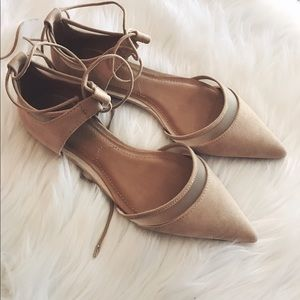 Zara Nude Pointed Flats