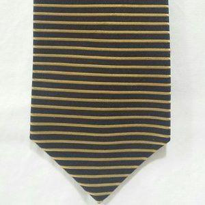 Bruno Piattelli Striped Tie Silk Navy Gold