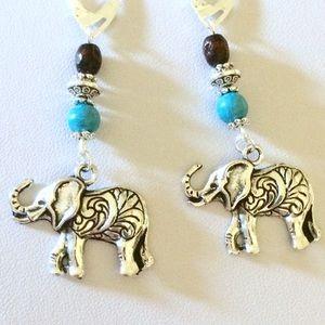 Elephant turquoise dangle earrings
