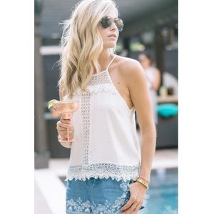 ASTR white crochet high neck top