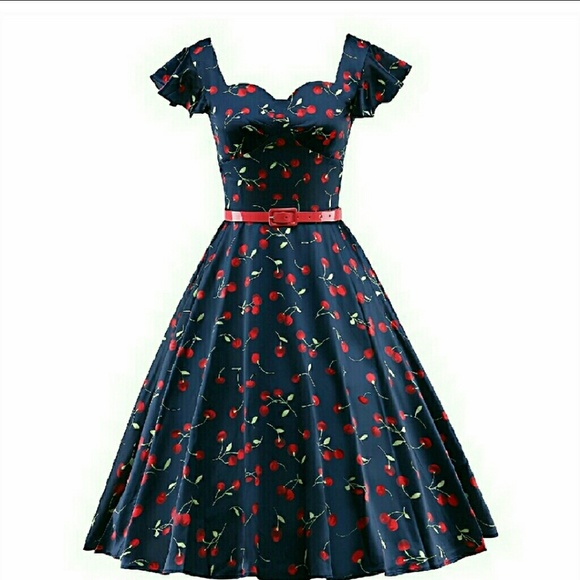 Cherry Pattern Retro Pinup Dress Plus Size NWT