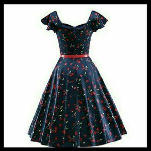 Dresses   Cherry Pattern Retro Pinup Dress Plus Size   Poshmark