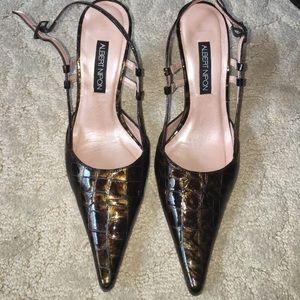 Albert Nipon Shoes - Albert Nipon Crocodile Skin Slingback Pumps