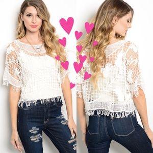 Tops - 💖NEW ARRIVAL! Boutique 💯 cotton crochet top💖