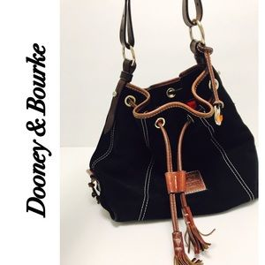 Dooney & Bourke Handbags - Dooney and Bourke Suede Black Bucket Bag