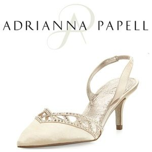 Adrianna Papell Shoes - Adrianna Papell Satin crystal-trim pumps