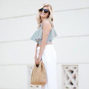 Host Pick J.O.A blue and white stripe ruffle top